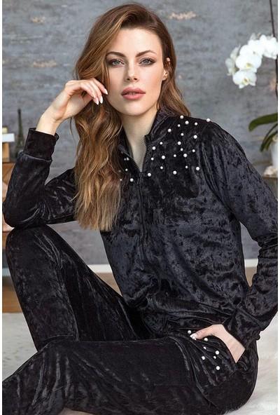 Anıl Kadın Siyah İnci Detaylı Fermuarlı Kadife Pijama Takımı 9552