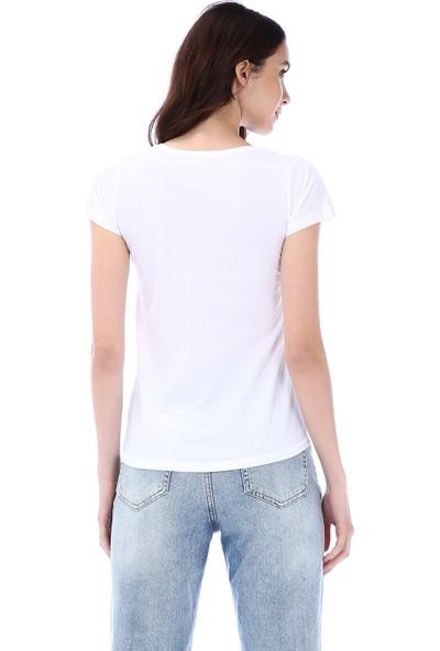 Kapsulstore Yuvarlak Yaka Cepli Organik Pamuk Beyaz T-Shirt