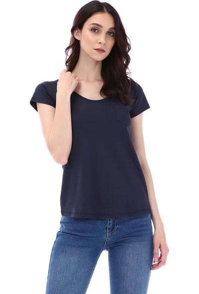 Kapsulstore Yuvarlak Yaka Cepli Organik Pamuk Lacivert T-Shirt