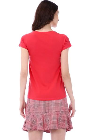 Kapsulstore Yuvarlak Yaka Cepli Organik Pamuk Kırmızı T-Shirt