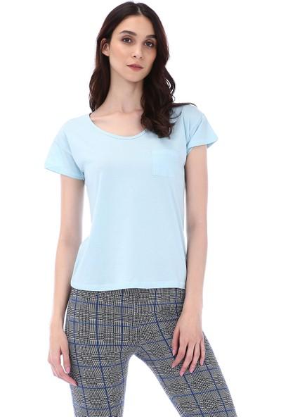 Kapsulstore Düşük Kollu Cepli Organik Pamuk Mavi T-Shirt