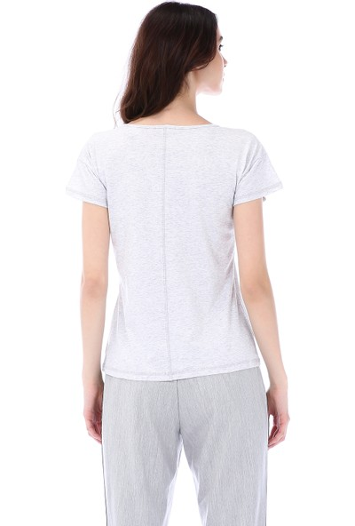 Kapsulstore Düşük Kollu Cepli Organik Pamuk Gri T-Shirt
