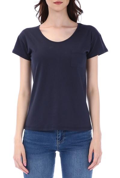 Kapsulstore Düşük Kollu Cepli Organik Pamuk Lacivert T-Shirt