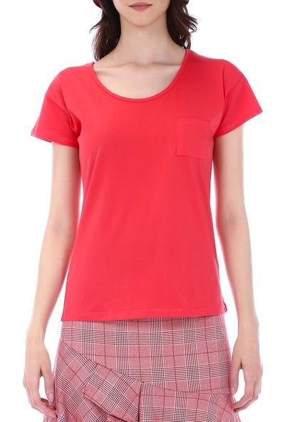 Kapsulstore Düşük Kollu Cepli Organik Pamuk Kırmızı T-Shirt