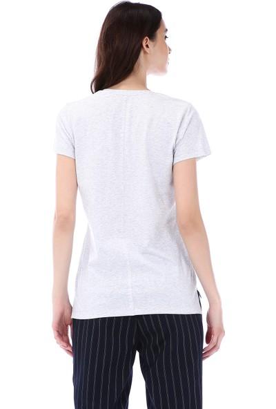 Kapsulstore Yandan Yırtmaçlı V Yaka Gri Melanj T-Shirt
