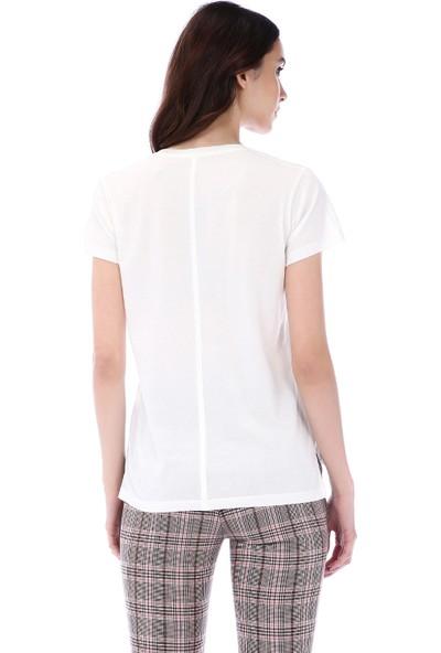 Kapsulstore Yandan Yırtmaçlı V Yaka Ekru T-Shirt