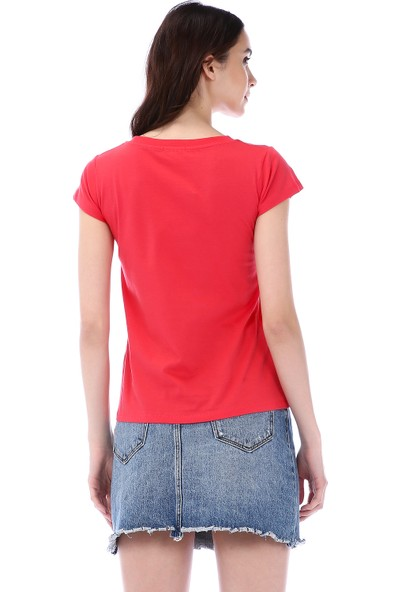 Kapsulstore V Yaka Organik Kırmızı T-Shirt