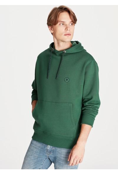 Mavi Erkek Mavi Logolu Kapüşonlu Yeşil Sweatshirt 065809-30208