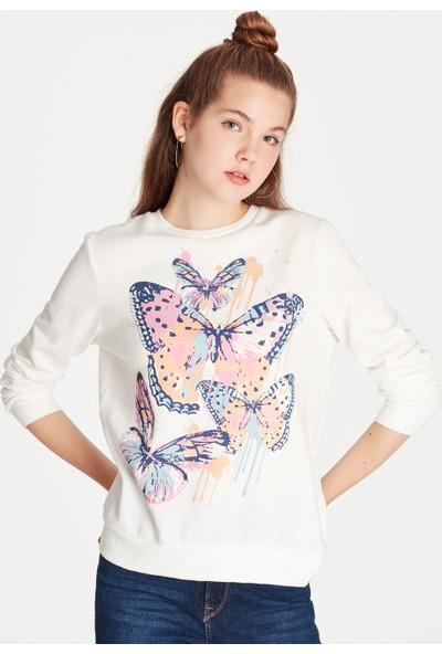 Mavi Kadın Kelebek Baskılı Sweatshirt