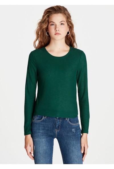 Mavi Uzun Kollu Yeşil Tişört