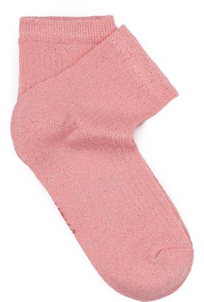 Mavi Kadın Simli Neon Pembe Çorap