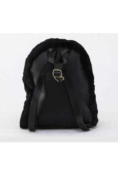 Depoms Kadın Peluş Sırt Çantası Siyah 5061-S