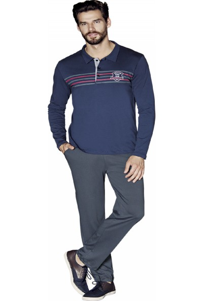 Güryıldız Erkek Yeni Sezon Polo Yaka Uzun Kol Pijama Takımı 5374