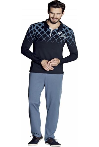 Güryıldız Erkek Yeni Sezon Polo Yaka Uzun Kol Pijama Takımı 5375