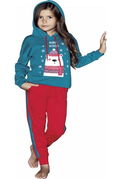 Güryıldız Kız Çocuk Yeni Sezon Kapüşonlu Uzun Kol Pijama Takımı 6201