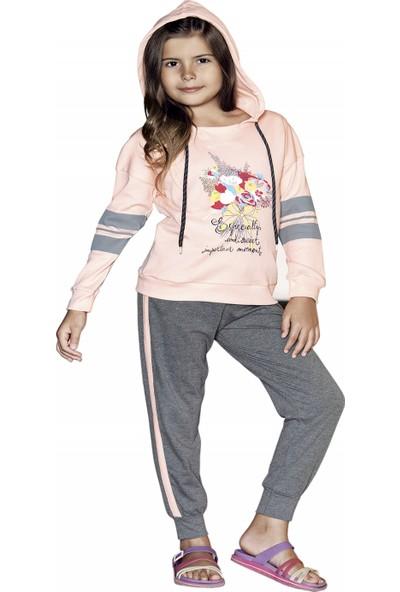 Güryıldız Kız Çocuk Yeni Sezon Kapüşonlu Uzun Kol Pijama Takımı 6205