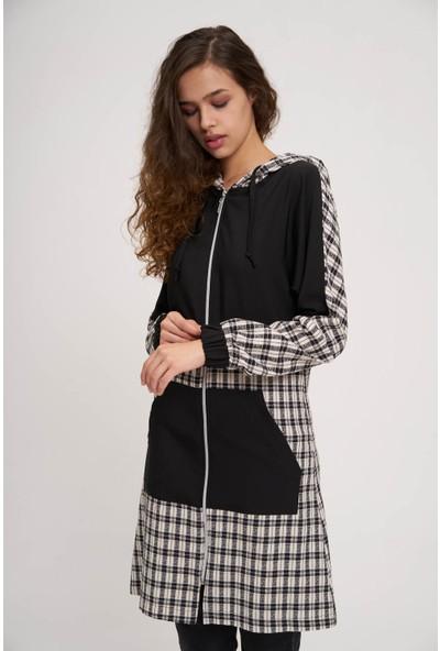 Mizalle Youth Kadın Ekose Garnili Fermuarlı Sweatshirt