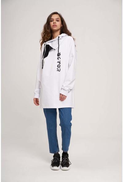 Mizalle Youth Kadın Japon Baskılı Sweatshirt