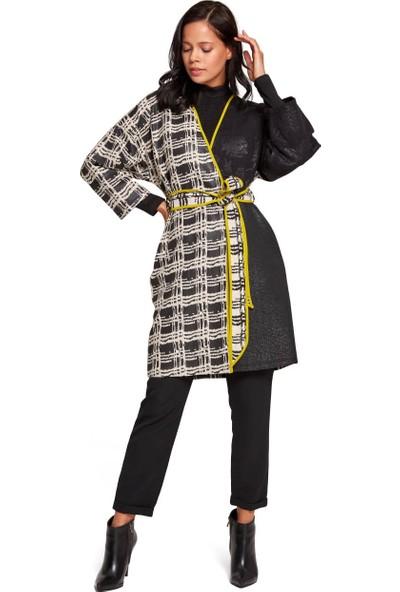 Mizalle Kadın Tasarım Renkli Uzun Kimono