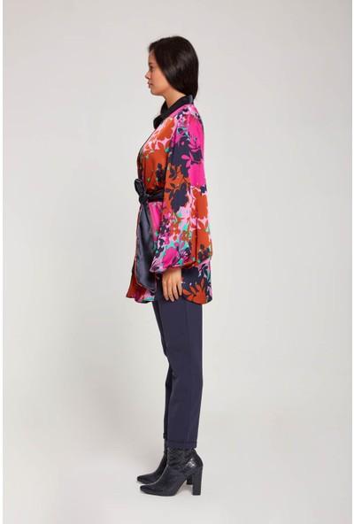 Mizalle Kadın Desenli Saten Kimono