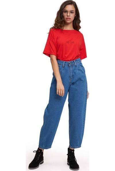 Mizalle Youth Kadın Pileli Balon Denim Pantolon