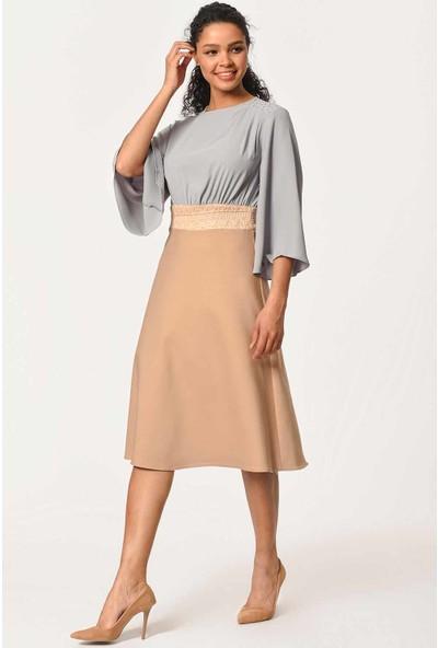 Mizalle Kadın Omuzu Taş İşlemeli İki Renkli Elbise