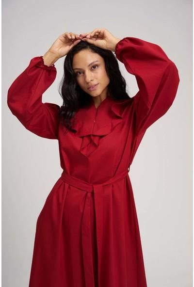 Mizalle Kadın Fırfırlı Kuşaklı Elbise