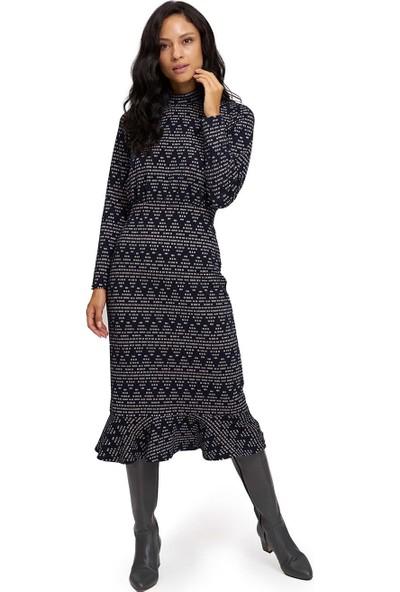 Mizalle Kadın Zikzak Desenli Örme Elbise