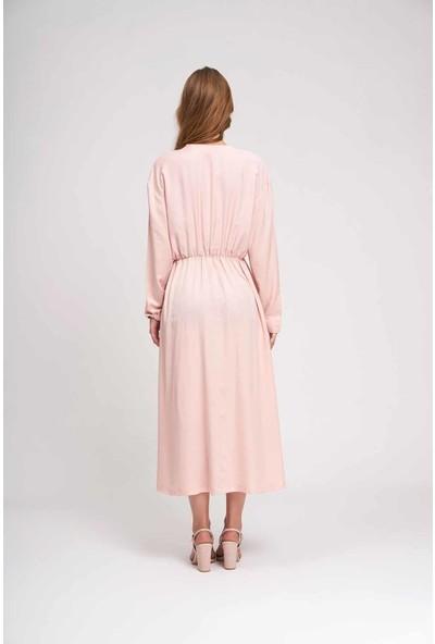 Mizalle Kadın Sedef Düğmeli Viskon Uzun Elbise