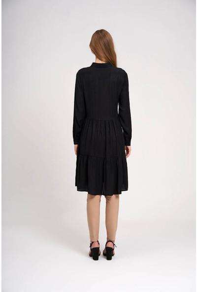Mizalle Kadın Viskon Desenli Gömlek Elbise