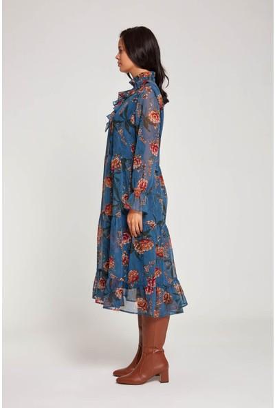 Mizalle Kadın Önü Fırfırlı Çiçekli Elbise