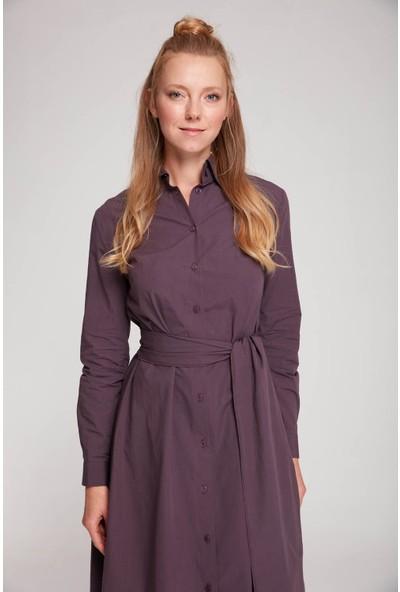 Mizalle Kadın Dik Yaka Gömlek Elbise