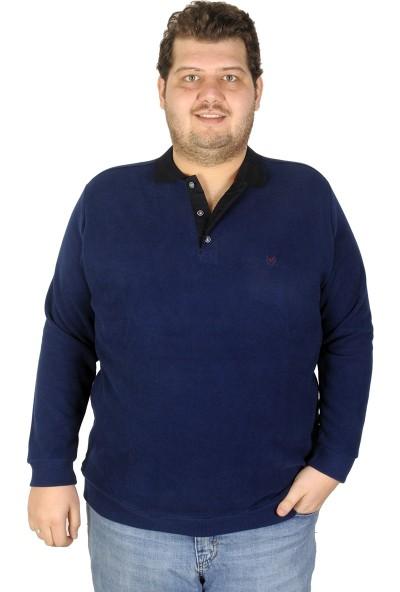 Mode XL Büyük Beden Erkek Sweatshirt Polo 19446 Indigo