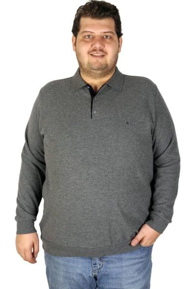 Mode XL Büyük Beden Erkek Sweatshirt Polo 19446 Antra Melanj