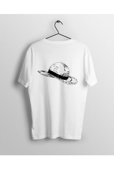 Anime Pazarı Luffy'Nin Yarası Ve Hasır Şapkası One Piece Unisex Anime T-shirt