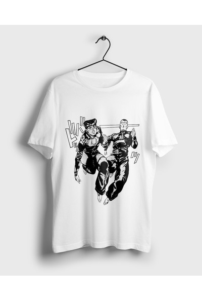 Anime Pazarı Jojo Joutaro İle Okuyasu Unisex Anime T-shirt