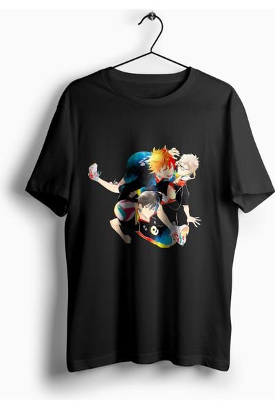 Anime Pazarı Haikyuu Karasu Takımı Siyah Unisex Anime T-shirt