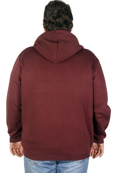 ModeXL Büyük Beden Erkek Sweatshirt Peluş Kapşonlu 19534 Mürdüm