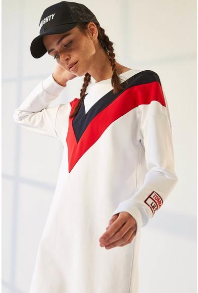 Tommy Life Ön Garnili Beyaz Kadın Spor Elbise