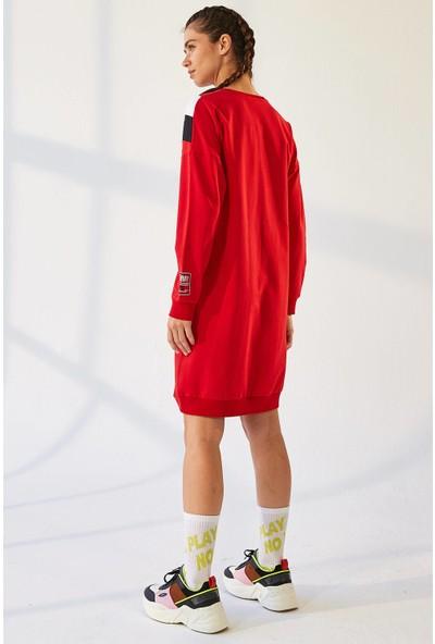 Tommy Life Ön Garnili Kırmızı Spor Elbise