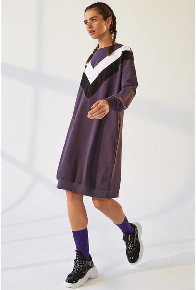 Tommy Life Ön Garnili Mor Spor Elbise