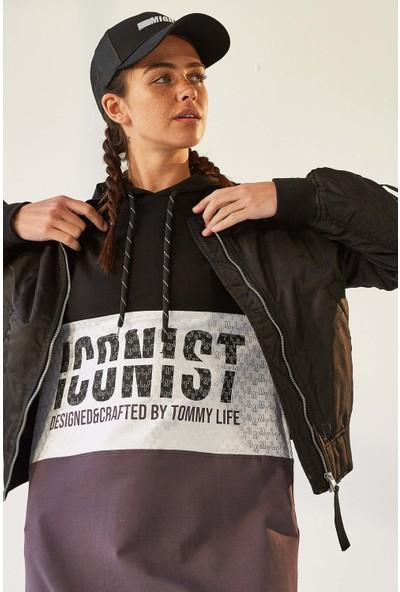 Tommy Life Iconist Baskılı Siyah-Mor Melanj Kadın Spor Elbise