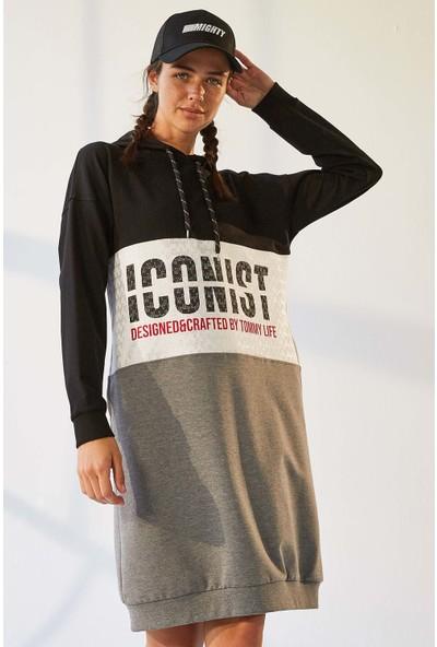Tommy Life Iconist Baskılı Siyah-Gri Melanj Kadın Spor Elbise