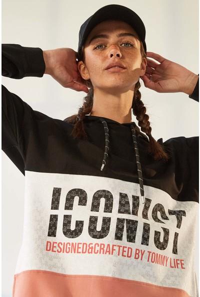 Tommy Life Iconist Baskılı Siyah-Pudra Kadın Spor Elbise