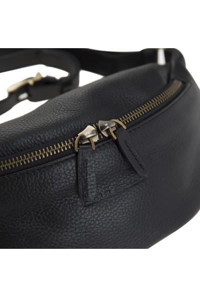 Bouletta Minoan Deri Bel Çantası FLM01 Siyah