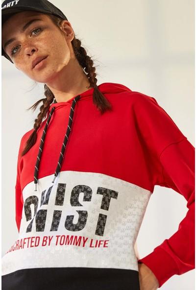 Tommy Life Iconist Baskılı Kırmızı-Siyah Spor Elbise