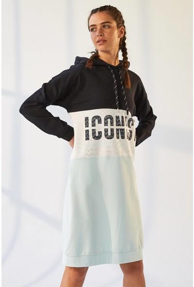 Tommy Life Iconist Baskılı Lacivert-Açık Mavi Kadın Spor Elbise