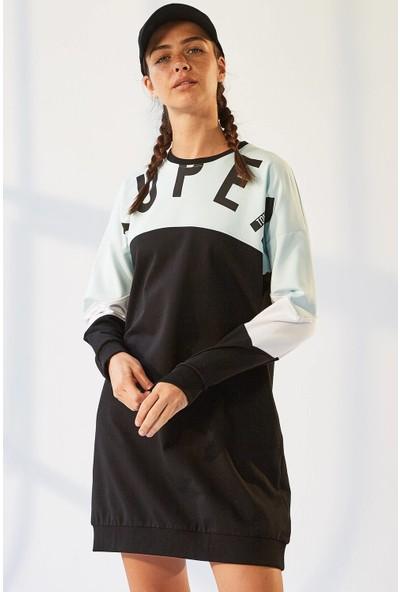 Tommy Life Cepli Süper Yazı Baskılı Siyah-Açık Mavi Kadın Sweatshirt