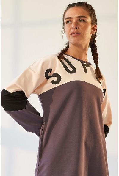 Tommy Life Cepli Süper Yazı Baskılı Mor-Somon Kadın Sweatshirt