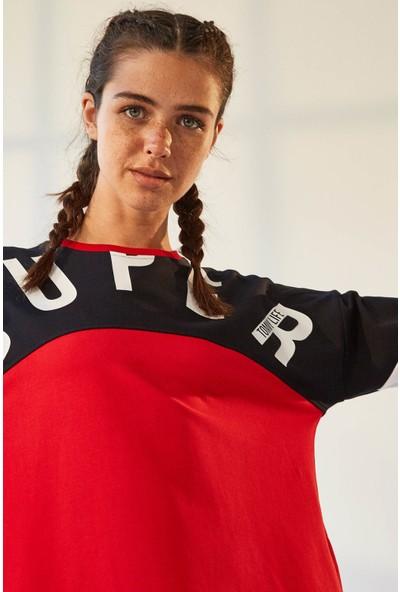 Tommy Life Cepli Süper Yazı Baskılı Kırmızı-Lacivert Kadın Sweatshirt
